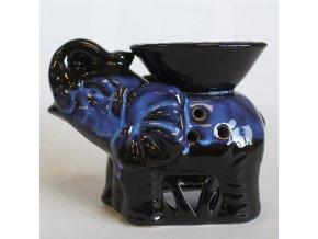 Aroma lampa Slon tmavě hnědá glazovaná keramika