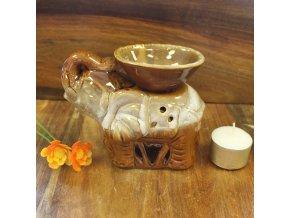 Aroma lampa Slon světle hnědá glazovaná keramika