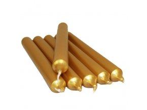 Dekorativní stolní svíčka metalická zlatá, 21 cm