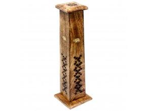 Shesham Kuželovitá věž Stojánek na vonné tyčinky Slon dřevěný, 30 cm
