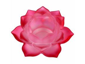 Svícen na čajovou svíčku skleněný Lotos červený, 5,5 x 12 cm
