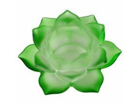 Svícen na čajovou svíčku skleněný Lotos zelený, 5,5 x 12 cm