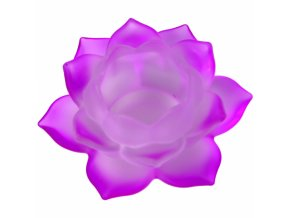 Svícen na čajovou svíčku skleněný Lotos fialový, 5,5 x 12 cm