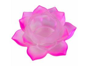 Svícen na čajovou svíčku skleněný Lotos růžový, 5,5 x 12 cm