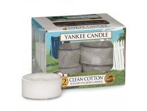 Čajová svíčka Yankee Candle Čistá bavlna CLEAN COTTON, 12 ks