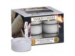 Čajová svíčka Yankee Candle Praskající oheň Crackling Wood Fire , 12 ks