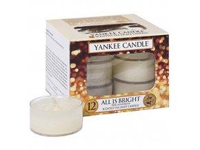 Čajová svíčka Yankee Candle Všechno jen září ALL IS BRIGHT, 12 ks