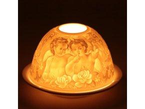 Porcelánový svícen Feng Shui Šeptání andělů, 12 x 8 cm