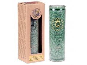 Vonná svíčka ve skle 4. Čakra Anahata, 21 x 6,5 cm