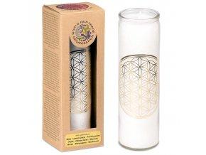 Yogi & Yogini Vonná svíčka ve skle Květ života bílá, 21 x 6,5 cm
