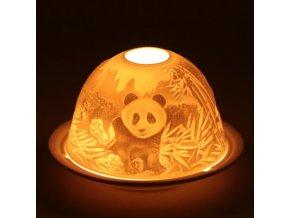 Porcelánový svícen Feng Shui Panda, 12 x 8 cm
