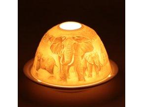 Porcelánový svícen Feng Shui Sloni, 12 x 8 cm