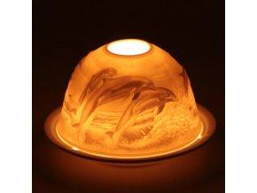 Porcelánový svícen Feng Shui Delfíni, 12 x 8 cm