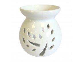 Aroma lampa Strom a listy Bílá keramika, 10 x 5,5 cm