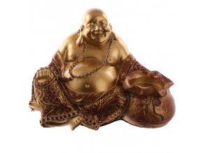 Svícen na čajovou svíčku Sedící čínský Buddha