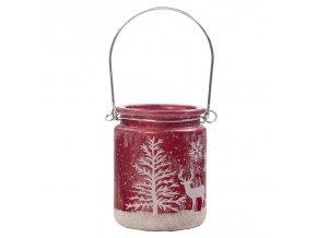 Skleněný svícen Vánoční dekorace Červený 2, 8 x 8 cm