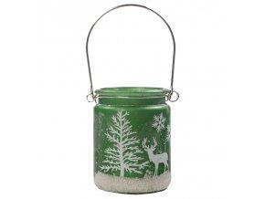 Skleněný svícen Vánoční dekorace Zelený, 8 x 8 cm