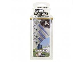 Vonné kolíčky Yankee Candle Čistá bavlna, 4x osvěžovač do auta dlouhotrvající vonné kolíčky