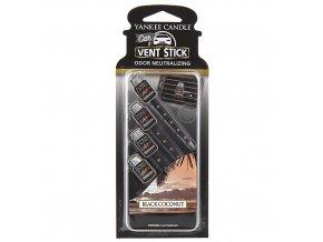 Vonné kolíčky Yankee Candle Černý kokos, 4x osvěžovač do auta dlouhotrvající vonné kolíčky