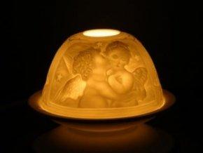 Porcelánový svícen andělská láska, 12 x 8 cm