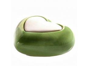 Aroma difuzér keramický Lovely srdce, zelený 10 x 6 cm