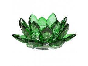 Svícen na čajovou svíčku Křišťál Lotos zelený, 4,5 x 11 cm
