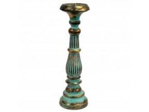 Dřevěný svícen Vintage velký tyrkysovo zlatý 40 cm