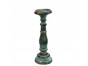 Dřevěný svícen Vintage střední tyrkysovo zlatý 34 cm