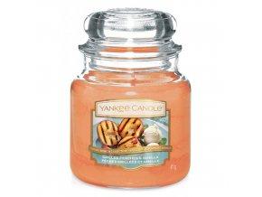 Vonná svíčka ve skleněné dóze Grilované broskve a vanilka GRILLED PEACHES & VANILLA, 411 g