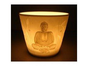 Porcelánový svícen Feng Shui Buddha, 8,5 x 7,2 cm