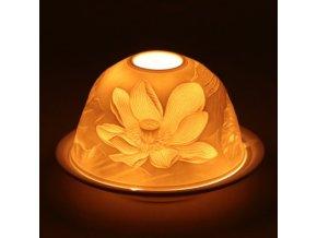 Porcelánový svícen Feng Shui Lotosový květ, 12 x 8 cm