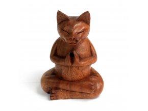 Stojánek na vonné kužely dřevěný Střední kočka, 13,5 x 10 x 6,5 cm