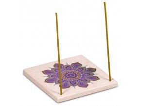 Stojánek na vonné tyčinky Květ mandala pískovec, 10 x 10 cm