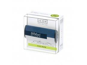 Vůně do auta Millefiori Milano Icon Chladná voda, design Textile Geometric modro bílá, 47 g