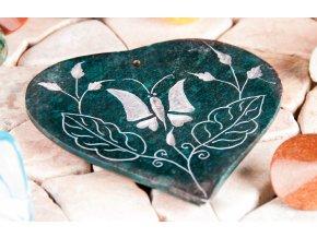 Stojánek na vonné tyčinky Srdce s motýlem mastek, 11 x 10 cm