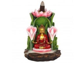 Stojan na vonné kužely Tekoucí dým Buddha a lotosové květy, 14 x 12 x 13,5 cm