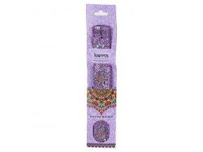 Karma Stojánek na vonné tyčinky dřevěný s glitrovou ozdobou fialový, 29,5 cm