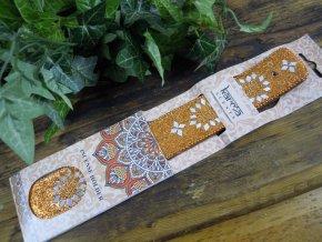 Karma Stojánek na vonné tyčinky dřevěný s glitrovou ozdobou 3
