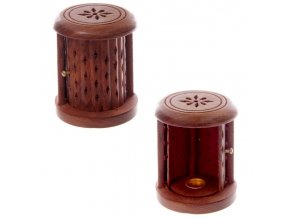 Stojánek na vonné kužely Soudek dřevo palisandr, 9 x 7 cm