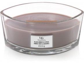 WoodWick Black Amber & Citrus vonná svíčka loď s dřevěným knotem, 453,6 g