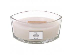 WoodWick Smoked Jasmine vonná svíčka loď s dřevěným knotem, 453,6 g