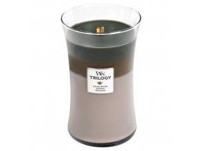 WoodWick Trilogy Cozy Cabin vonná svíčka s dřevěným knotem, 609,5 g