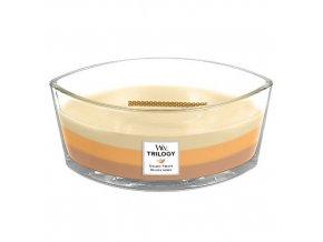 WoodWick Trilogy Golden Treats vonná svíčka loď s dřevěným knotem, 453,6 g