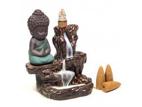 Mani Bhadra Stojan na vonné kužely Tekoucí dým Malý Buddha, 12 x 9 x 7 cm