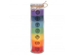 Svíčka ve skle Chakra bez parfemace, 20,5 x 5,5 cm