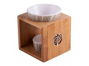 Mani Bhadra Yggdrasil Aroma lampa Bambus a keramika, 11 x 9,5 cm