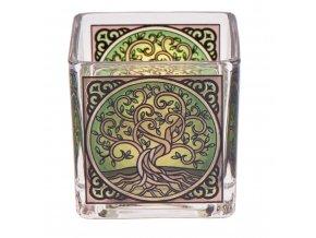 Mani Bhadra Yggdrasil Skleněný svícen pro čajové a votivní svíčky, 6 x 6 cm
