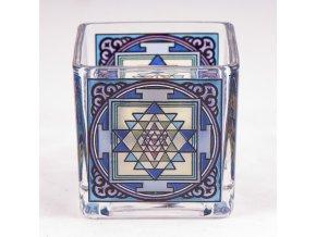 Mani Bhadra Shri Yantra Skleněný svícen pro čajové a votivní svíčky, 6 x 6 cm