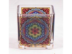 Mani Bhadra Květ života Skleněný svícen pro čajové a votivní svíčky, 6 x 6 cm