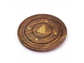 Mani Bhadra - Stojánek na vonné tyčinky - dřevěný - Buddha, 10 cm
